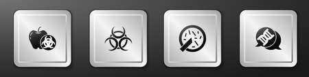 Set Genetically modified apple, Biohazard symbol, Petri dish with bacteria and DNA icon. Silver square button. Vector