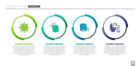 Set Virus, Man having headache, coughing and Constipation. Business infographic template. Vector