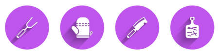 Set Barbecue fork, Oven glove, Meat chopper and Cutting board icon with long shadow. Vector