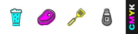 Set Glass of beer, Steak meat, Spatula and Pepper icon. Vector