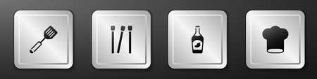 Set Spatula, Matches, Ketchup bottle and Chef hat icon. Silver square button. Vector