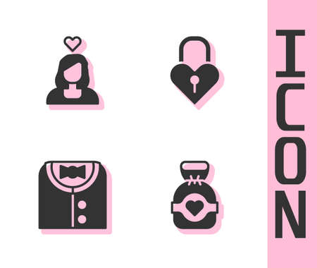 Set Chocolate candy, Couple in love, Suit and Castle the shape of heart icon. Vector 矢量图像