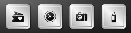 Set Love ticket, Clock with heart, Photo camera and Wine bottle icon. Silver square button. Vector Ilustrace