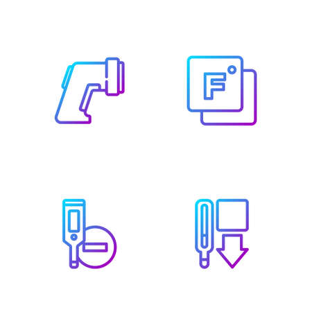 Set line Medical thermometer, Digital, and Fahrenheit. Gradient color icons. Vector