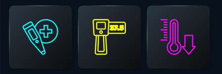 Set line Digital thermometer, Meteorology and . Black square button. Vector