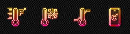 Set line Meteorology thermometer, , Thermometer with snowflake and Celsius. Glowing neon icon. Vector