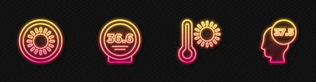 Set line Meteorology thermometer, Sun, Medical and High human body temperature. Glowing neon icon. Vector Ilustracja