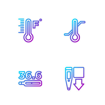 Set line Digital thermometer, Medical, Meteorology and . Gradient color icons. Vector Ilustracja