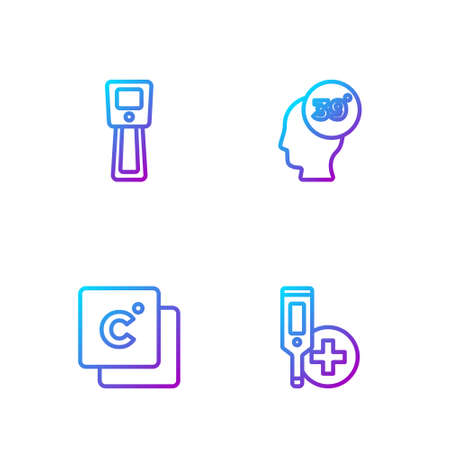 Set line Digital thermometer, Celsius, and High human body temperature. Gradient color icons. Vector