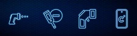Set line Digital thermometer, , and Celsius. Glowing neon icon on brick wall. Vector Ilustración de vector