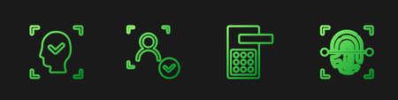 Set line Digital door lock, Face recognition, and Fingerprint. Gradient color icons. Vector