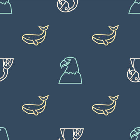 Set line Macaw parrot, Whale and Eagle head on seamless pattern. Vector