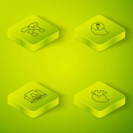 Set Isometric Addiction to the drug, Psychologist online, Solution problem and Question mark icon. Vector 向量圖像