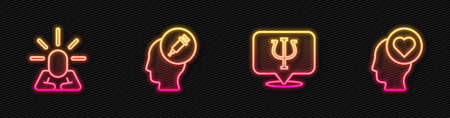 Set line Psychology, Psi, Depression, Addiction to the drug and Broken heart or divorce. Glowing neon icon. Vector