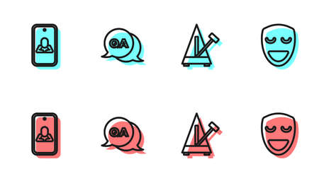 Set line Metronome with pendulum, Psychologist online, Question and Answer and Comedy theatrical mask icon. Vector