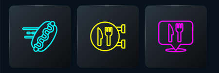 Set line Online ordering hotdog, Cafe and restaurant location and . Black square button. Vector  イラスト・ベクター素材