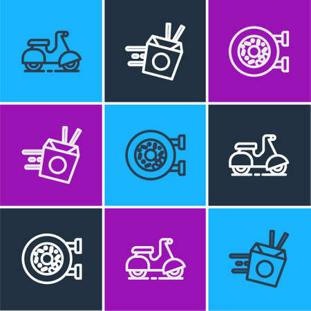 Set line Scooter delivery, Donut and Online ordering noodles icon. Vector Illustration