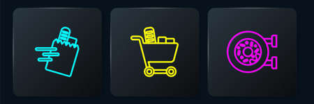 Set line Online ordering and delivery, Donut and Shopping cart food. Black square button. Vector