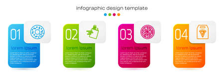 Set line Donut, Online ordering and delivery, Pizza and pizza. Business infographic template. Vector