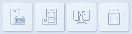 Set line Online ordering and delivery, Cafe restaurant location, and . White square button. Vector  イラスト・ベクター素材