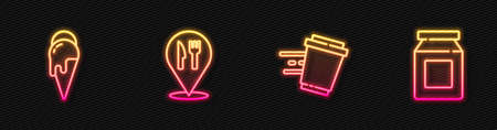 Set line Coffee cup to go, Ice cream, Cafe and restaurant location and Online ordering delivery. Glowing neon icon. Vector
