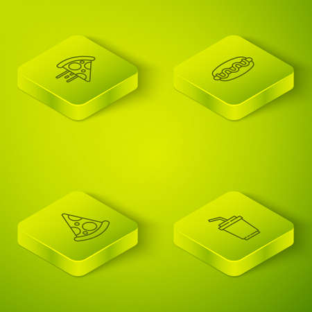 Set Isometric Hotdog sandwich, Slice of pizza, Paper glass with water and Online ordering delivery icon. Vector