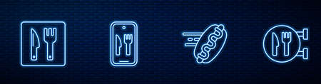 Set line Online ordering hotdog, Cafe and restaurant location, delivery and . Glowing neon icon on brick wall. Vector