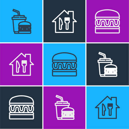 Set line Paper glass and burger, Burger and Online ordering delivery icon. Vector