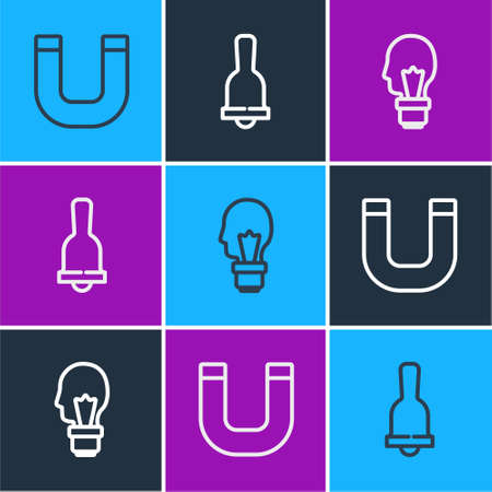 Set line Magnet, Light bulb with concept of idea and Ringing bell icon. Vector
