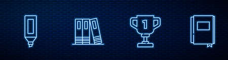 Set line Award cup, Marker pen, Office folders and Book. Glowing neon icon on brick wall. Vector  イラスト・ベクター素材