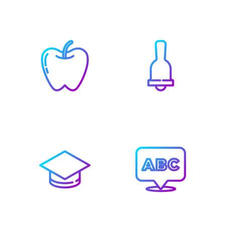 Set line Alphabet, Graduation cap, Apple and Ringing bell. Gradient color icons. Vector