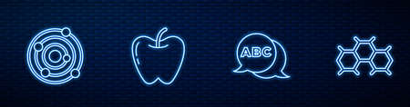 Set line Alphabet, Solar system, Apple and Chemical formula. Glowing neon icon on brick wall. Vector