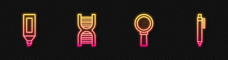 Set line Magnifying glass, Marker pen, DNA symbol and Pen. Glowing neon icon. Vector