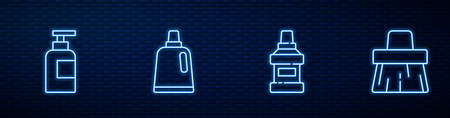 Set line Mouthwash bottle, Bottle of shampoo, for cleaning agent and Handle broom. Glowing neon icon on brick wall. Vector 矢量图像