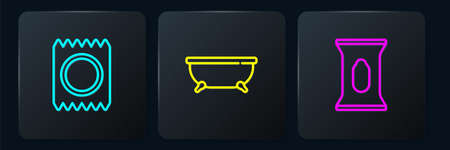 Set line Condom in package safe sex, Wet wipe and Bathtub. Black square button. Vector 向量圖像