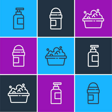 Set line Bottle of shampoo, Basin with soap suds and Antiperspirant deodorant roll icon. Vector