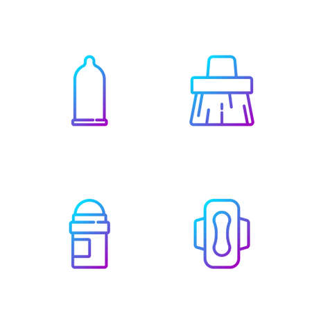 Set line Sanitary napkin, Antiperspirant deodorant roll, Condom and Handle broom. Gradient color icons. Vector 矢量图像