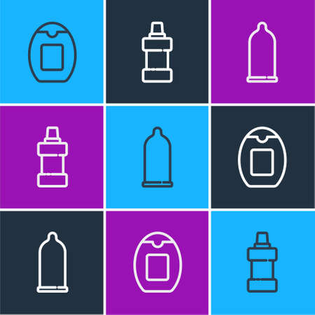 Set line Bottle of shampoo, Condom and for cleaning agent icon. Vector