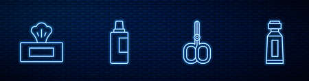Set line Nail scissors, Wet wipe pack, Bottle for cleaning agent and Tube of toothpaste. Glowing neon icon on brick wall. Vector