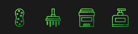Set line Antiperspirant deodorant roll, Sponge, Shower head and Bottle of shampoo. Gradient color icons. Vector 向量圖像