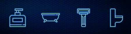 Set line Shaving razor, Bottle of shampoo, Bathtub and Toilet bowl. Glowing neon icon on brick wall. Vector