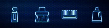 Set line Hairbrush, Tube of toothpaste, Handle broom and Bottle for cleaning agent. Glowing neon icon on brick wall. Vector