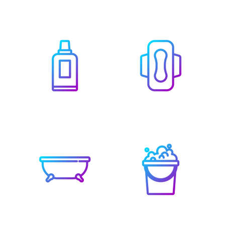 Set line Bucket with soap suds, Bathtub, Bottle for cleaning agent and Sanitary napkin. Gradient color icons. Vector