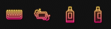 Set line Bottle for cleaning agent, Hairbrush, Bar of soap and . Glowing neon icon. Vector