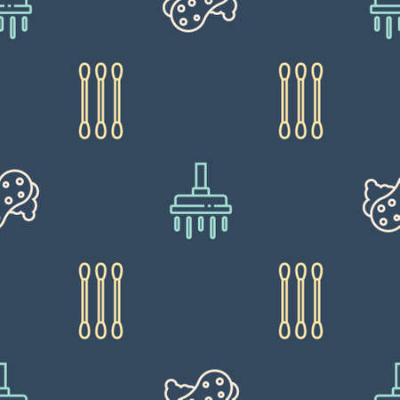 Set line Sponge, Cotton swab for ears and Shower head on seamless pattern. Vector 向量圖像
