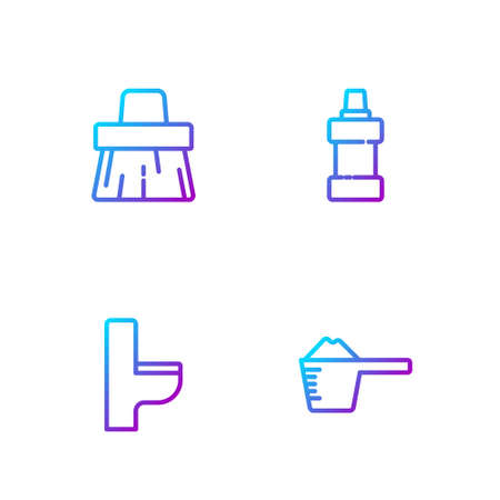 Set line Washing powder, Toilet bowl, Handle broom and Bottle for cleaning agent. Gradient color icons. Vector
