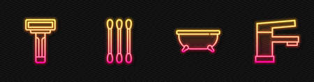 Set line Bathtub, Shaving razor, Cotton swab for ears and Water tap. Glowing neon icon. Vector 向量圖像