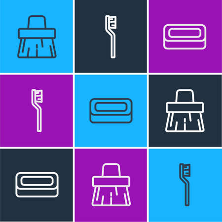 Set line Handle broom, Bar of soap and Toothbrush icon. Vector