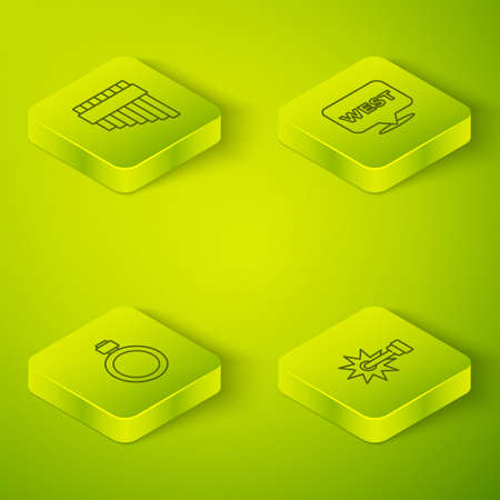 Set Isometric Pointer to wild west, Canteen water bottle, Spur and Pan flute icon. Vector