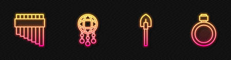 Set line Shovel, Pan flute, Dream catcher with feathers and Canteen water bottle. Glowing neon icon. Vector 矢量图像